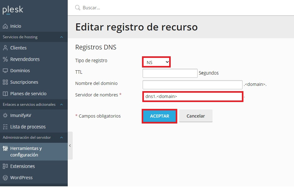 Editar registro NS
