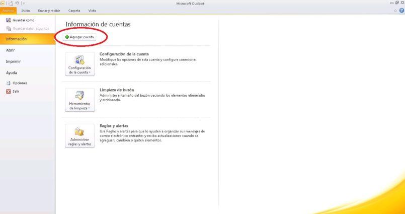 ¿Cómo configurar el correo en Outlook 2010?