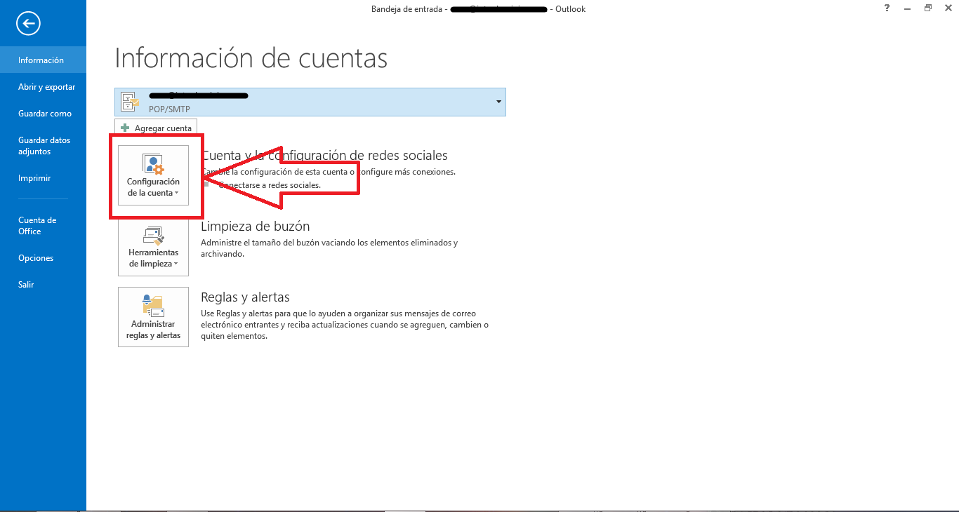Configurar correo IMAP en Outlook 2013