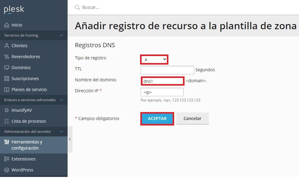 Editar registro A