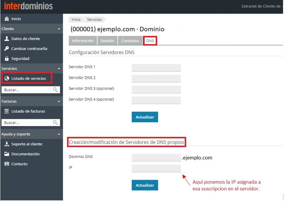 Editar NS extranet de clientes