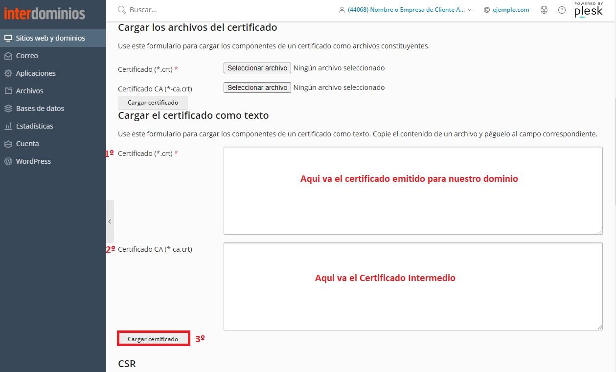 Cargar Certificado