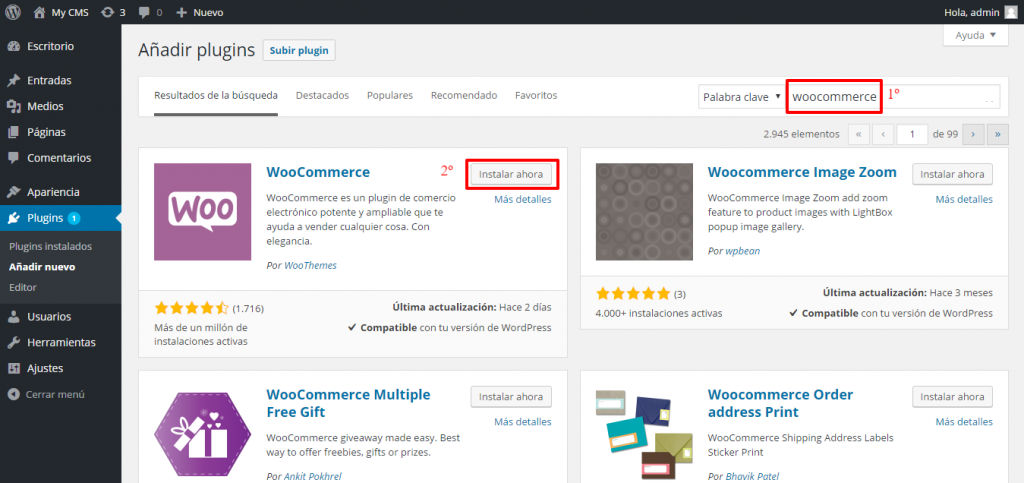 Instalar Woocommerce en WordPress