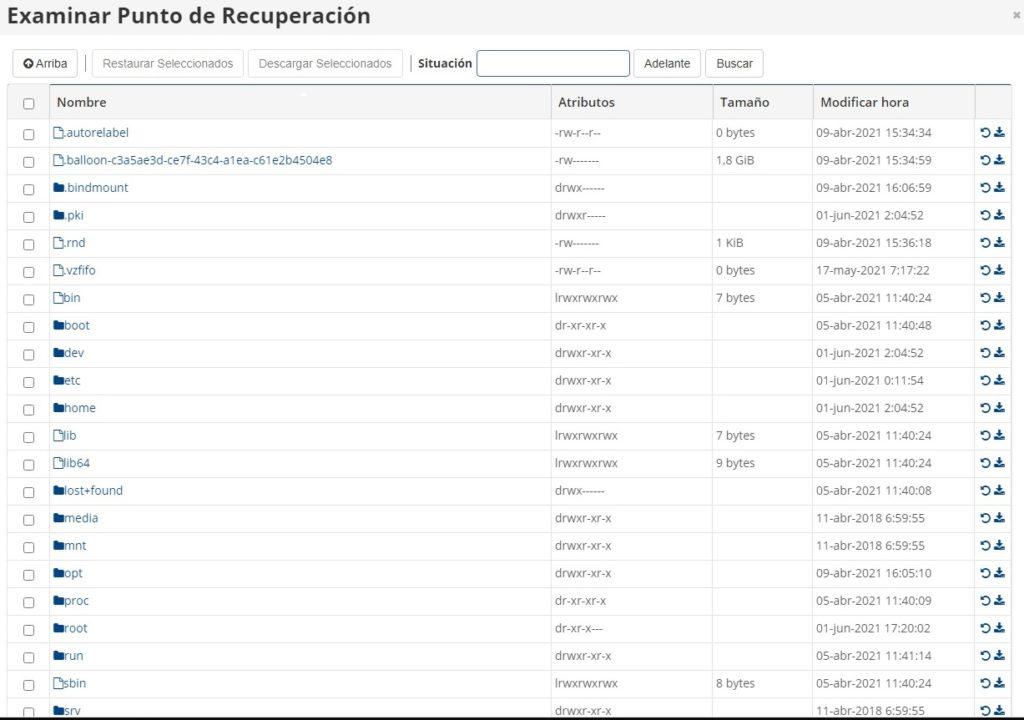 Listado de ficheros
