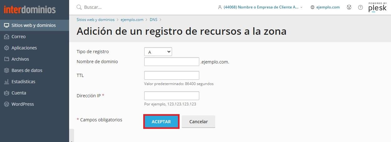 Configurando un nuevo registro