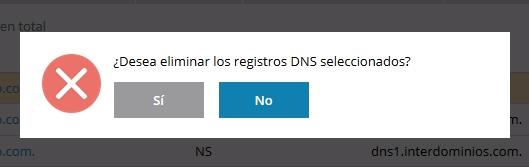 zona DNS eliminar confirmación