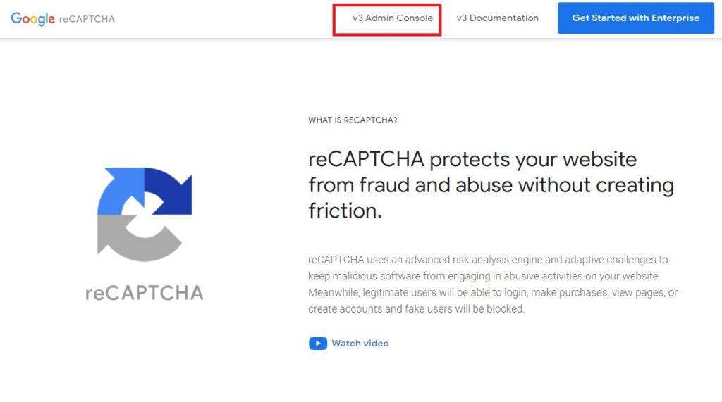 Acceso al panel de reCAPTCHA