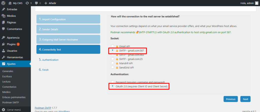 Usar correo desde WordPress con gmail 7