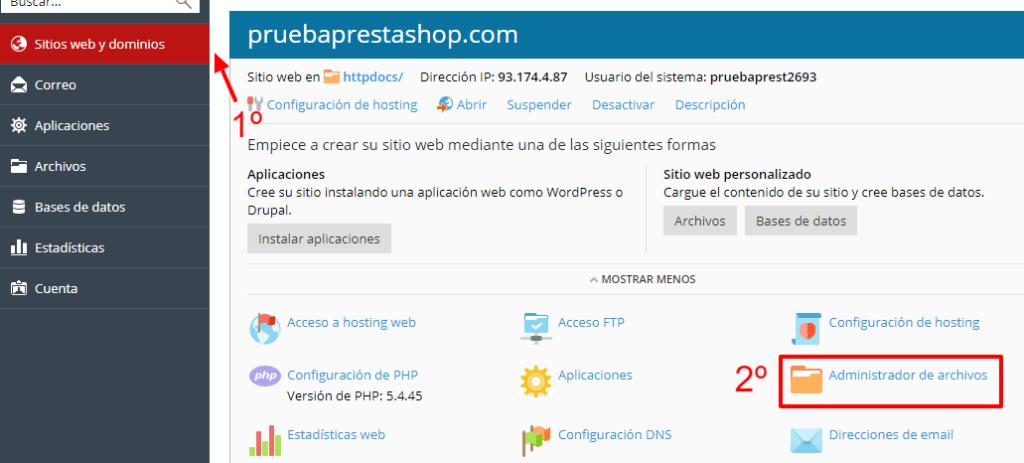 ¿Cómo instalar Prestashop en Plesk?
