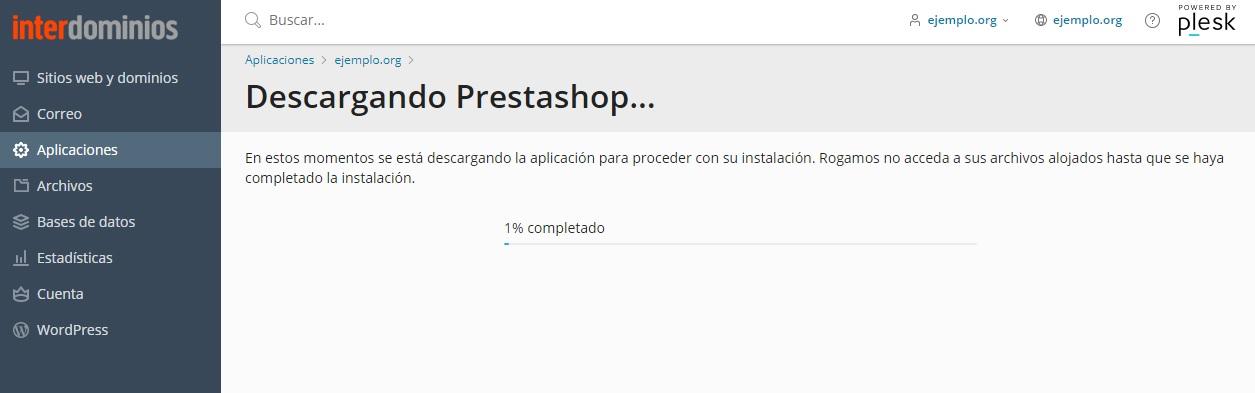 Empieza la descarga e Instalación de Prestashop