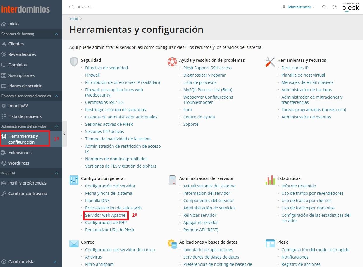 Herramientas y configuración del servidor