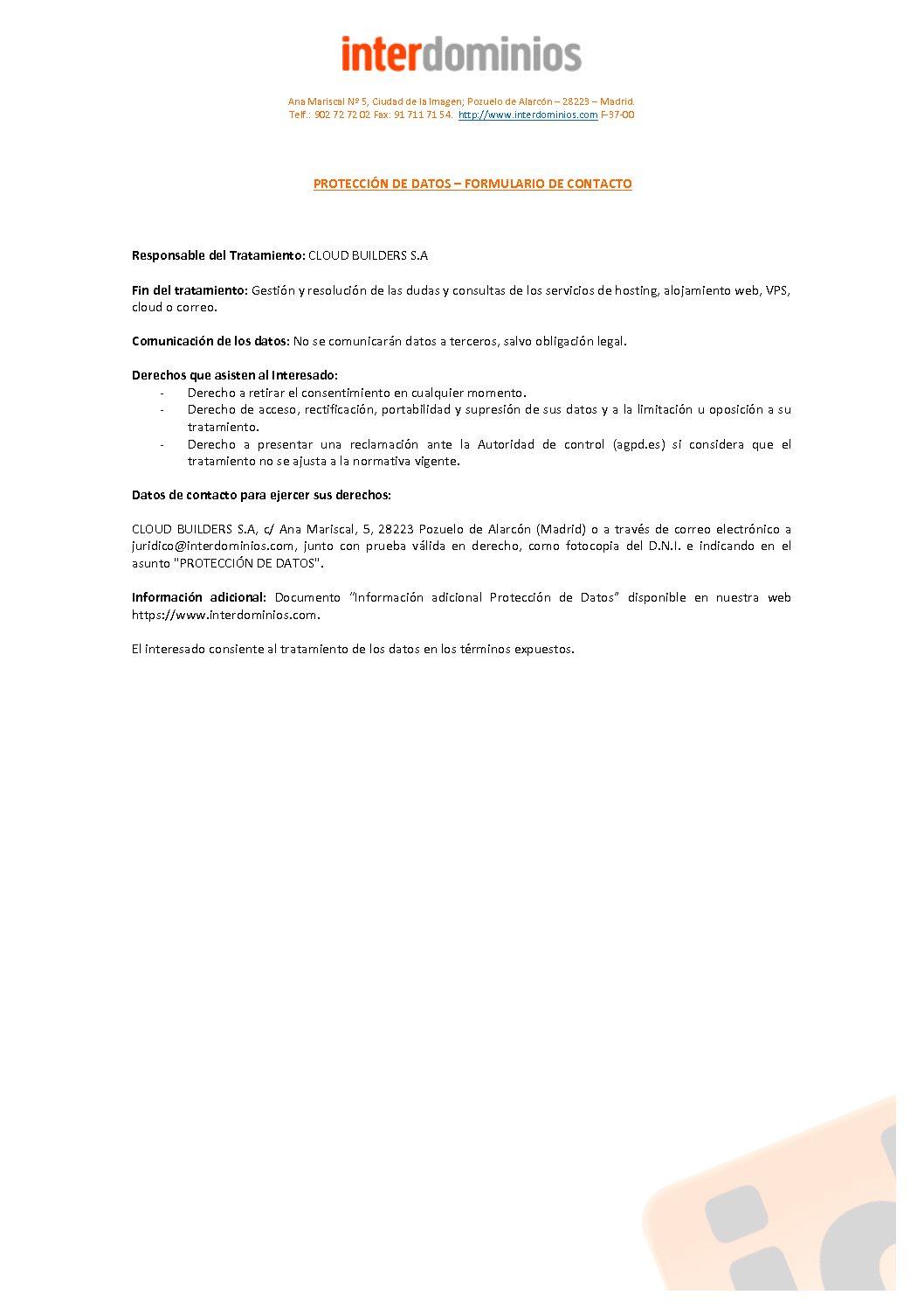 F-37 PROTECCION DE DATOS - Formulario de contacto (2)