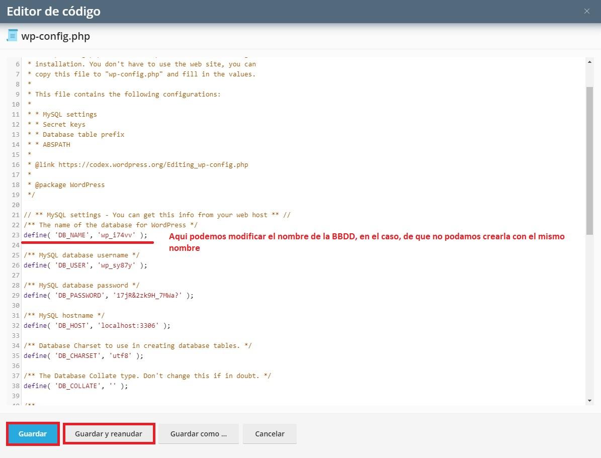 Editando el fichero wp-config