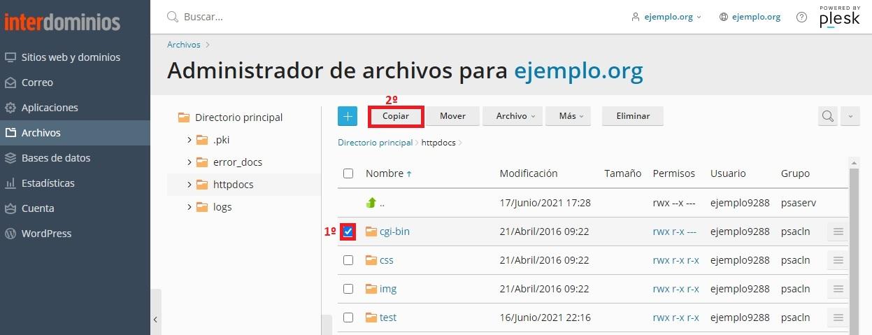 Copiar ficheros o directorios