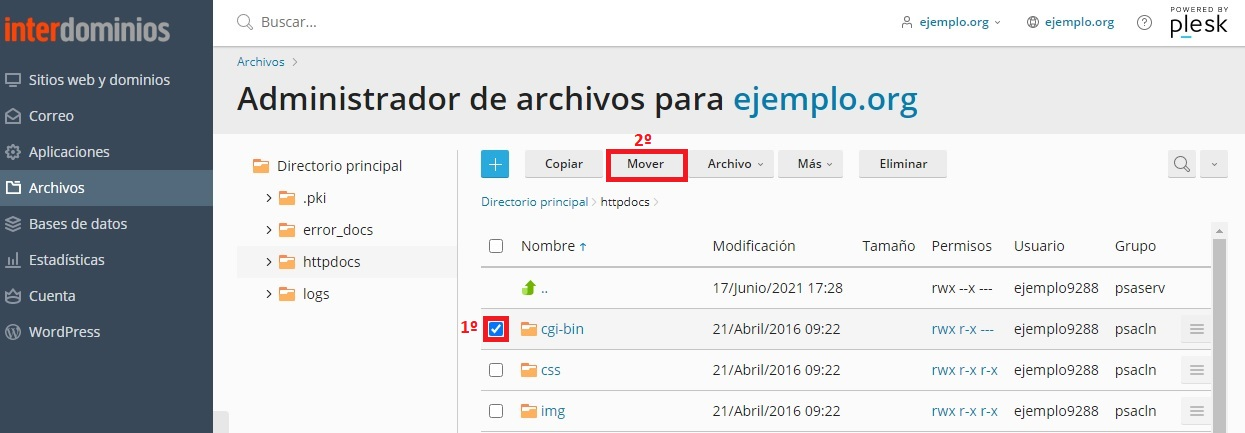 Mover archivos o ficheros