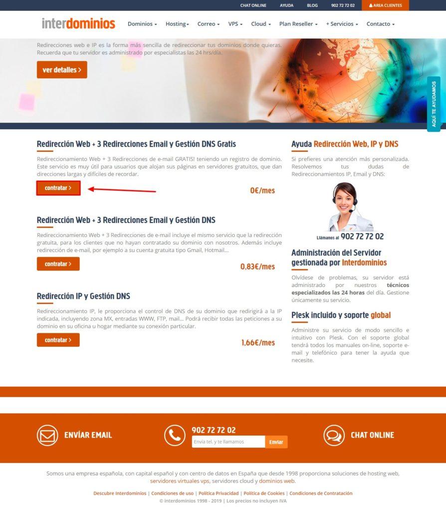 Contratar Redirecciones web +3 Redirecciones Email y Gestión DNS Gratis