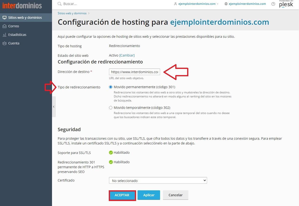 Configurar la URL de Redireccionamiento