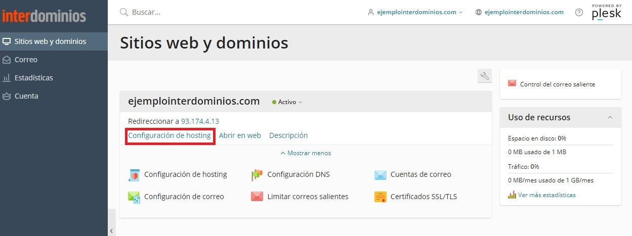Redireccionar la web del dominio