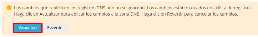 Actualizar zona DNS