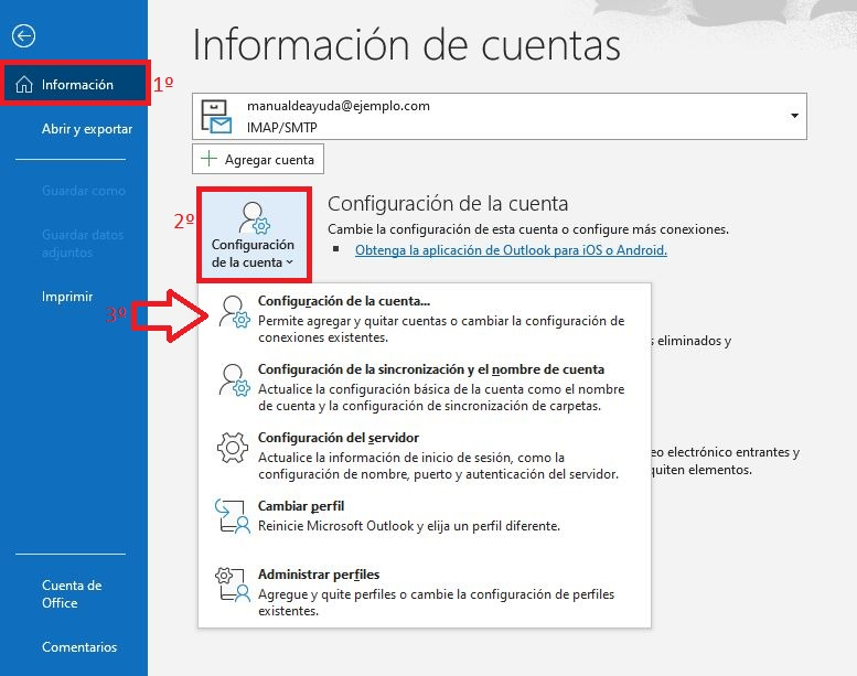 Configuración de la cuenta POP o IMAP