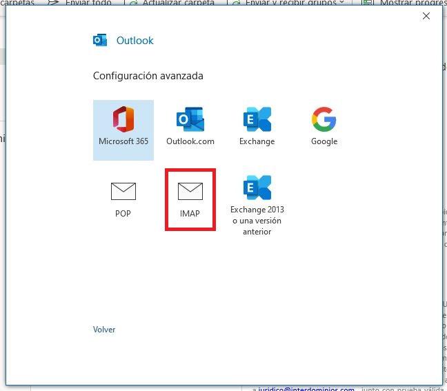 Configuración de la cuenta en IMAP