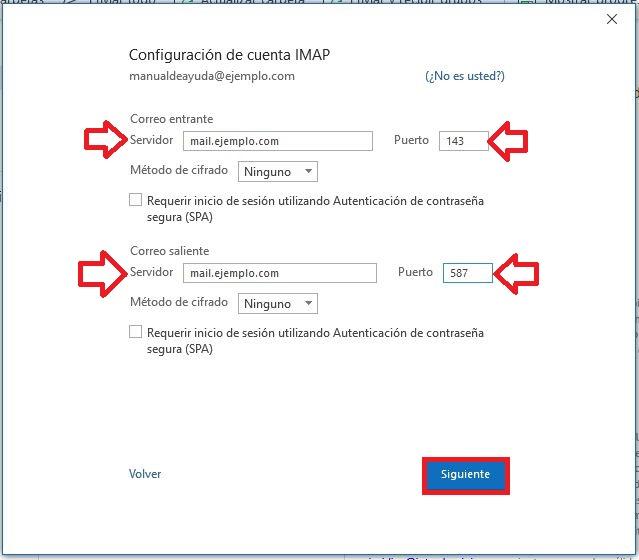 Configurando la cuenta en IMAP