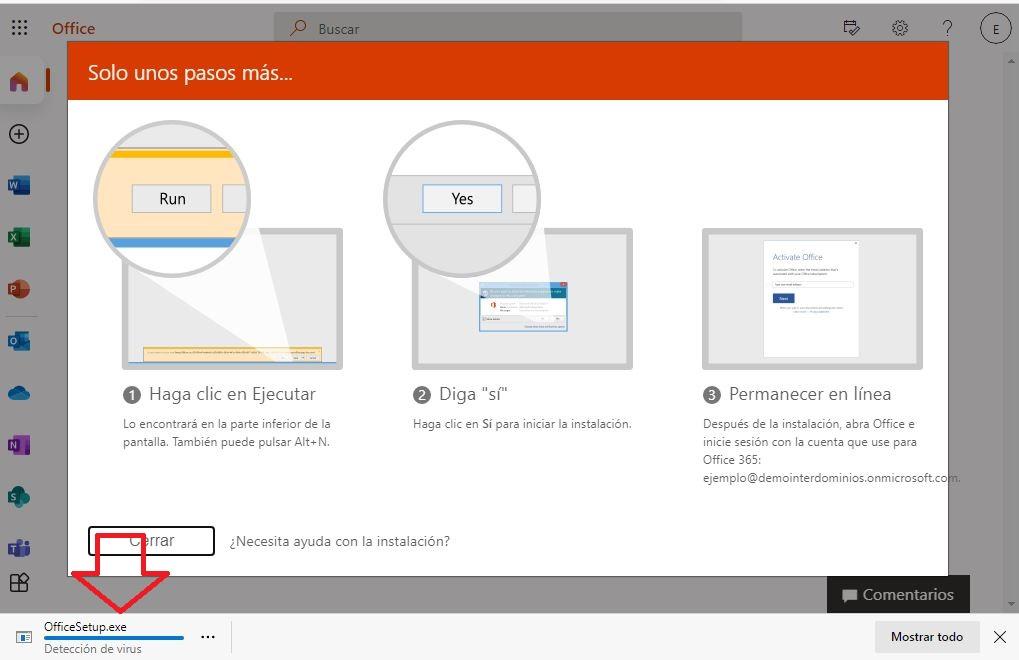 Inicio de descarga de Office 365