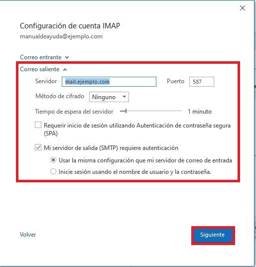 Reparación del correo saliente POP o IMAP